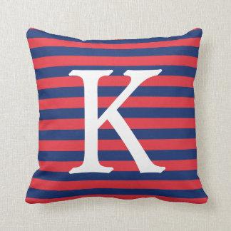 Navy Blue & Red Stripes Monogram クッション