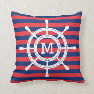 Navy Blue & Red Stripes Rudder Monogram クッション