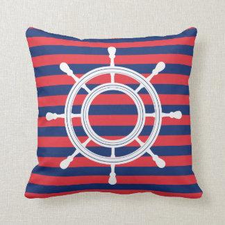 Navy Blue & Red Stripes - White Rudder クッション