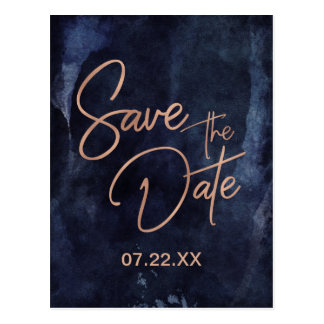 Navy Blue & Rose Gold Wedding Save the Date ポストカード