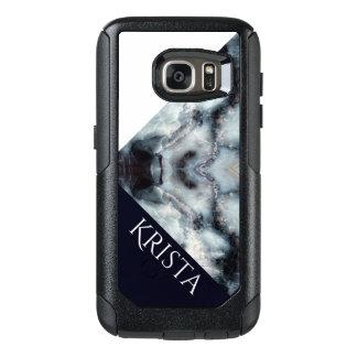 Navy&Whiteの大理石の質w Colorblock及び名前 オッターボックスSamsung Galaxy S7ケース