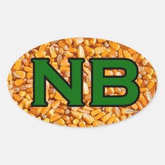 NB -ネブラスカ米国の楕円形のロゴ(トウモロコシ) 楕円形シール