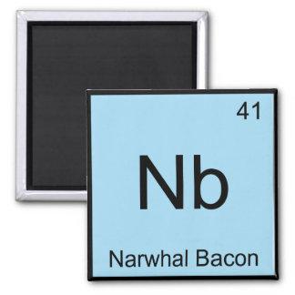 Nb - Narwhalのベーコン化学要素の記号のティー マグネット