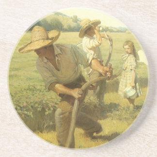 NC Wyethによる農場に戻るヴィンテージの農家、 コースター