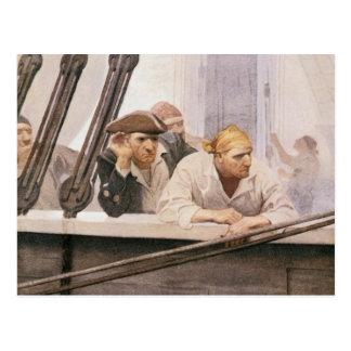 NC Wyethによる霧のヴィンテージの海賊ブリッグの契約 ポストカード