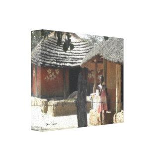 Ndebele小屋 キャンバスプリント