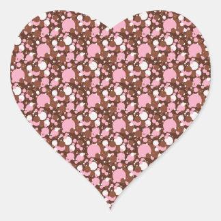 Neapolitan点ブラウン03のM-HEARTの定形ステッカー ハートシール
