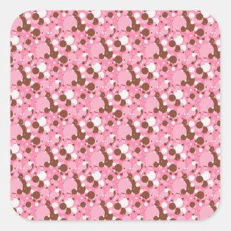 Neapolitan点02のピンク暗スクエアステッカー スクエアシール
