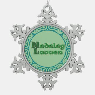 Nedeleg Laouen -ブルターニュのクリスマスの雪片 スノーフレークピューターオーナメント