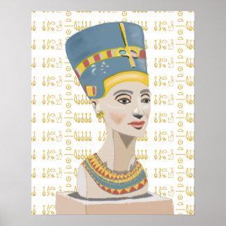Nefertitiおよびタイルを張られたCartoucheの背景 ポスター