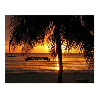 Negrilのジャマイカの日没 葉書き