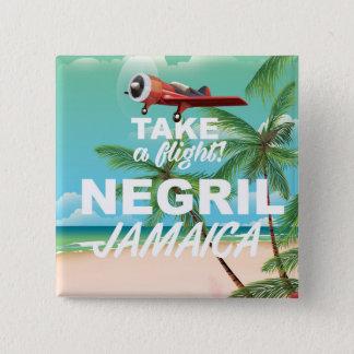 Negrilのビーチのジャマイカのヴィンテージ旅行ポスター 5.1cm 正方形バッジ