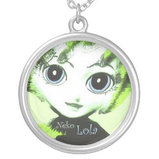 Nekoの女の子、Lola! かわいらしい女性の女の子のネックレス シルバープレートネックレス