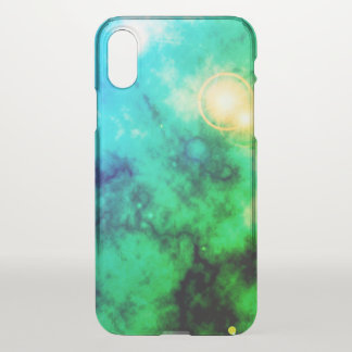 Neon Green Space Diffuse Blue Nebula and Supernova iPhone X ケース