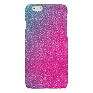 Neon Pink Muted Blue Floral Bright Colorful 光沢iPhone 6ケース