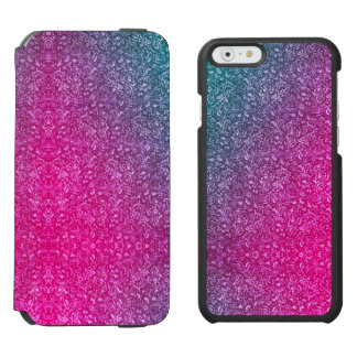 Neon Pink Muted Blue Floral Bright Colorful iPhone 6/6sウォレットケース