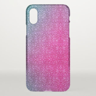 Neon Pink Muted Blue Floral Bright Colorful iPhone X ケース