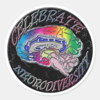 Neurodiversityを祝って下さい ラウンドシール