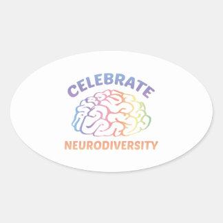 Neurodiversityを祝って下さい 楕円形シール