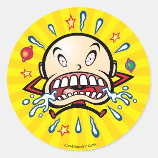 Neuroticoの泣き虫の漫画のロゴのステッカー2 ラウンドシール