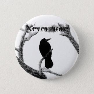 Nevermore B&Wの冬のワタリガラスエドガー・アラン・ポー 5.7cm 丸型バッジ