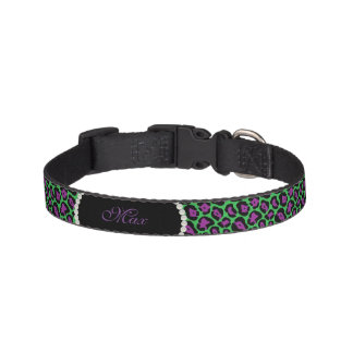 *NEW*の緑及び紫色のヒョウのプリントの真珠のモノグラム ペット首輪