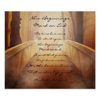 New Beginnings Mark an End ~ Fantasy Forest Poem ポスター
