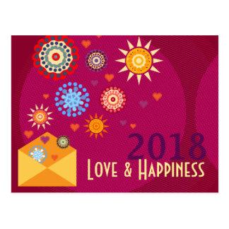 New Year Happiness greeting postcards ポストカード