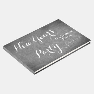 New Year's Party Chalkboard Typography Black White ゲストブック