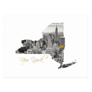 New York Map Cut Out ポストカード