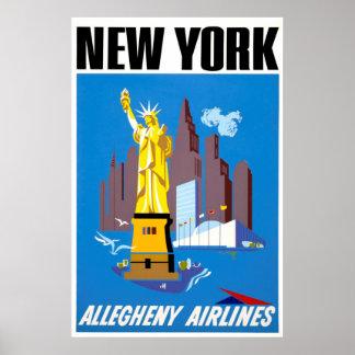 New York Vintage Travel Poster ポスター