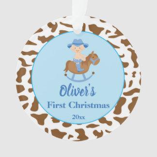 Newborn First Christmas Ornament Cowboy Blue オーナメント