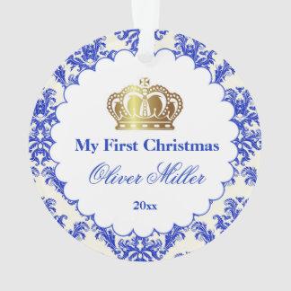 Newborn First Christmas Ornament Prince Gold Blue オーナメント