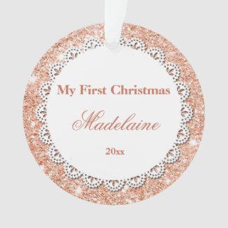 Newborn First Christmas Ornament Rose Gold Glitter オーナメント