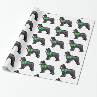 Newfoundland Dog Christmas Wrapping Paper ラッピングペーパー