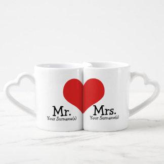 newly Wed Heart Wedding氏および夫人 ペアカップ