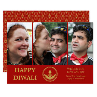 Newlywed Diwali Photo Greeting Card - Custom Color カード