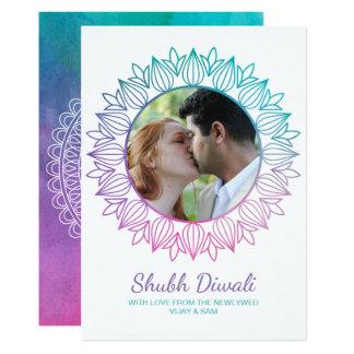 Newlywed Watercolor Diwali Photo Greeting Card カード