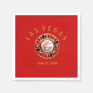 Newlyweds |ラスベガスのカジノの破片氏及び夫人の赤 スタンダードカクテルナプキン