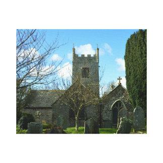 Newquayコーンウォールイギリスの近くのColan教会 キャンバスプリント