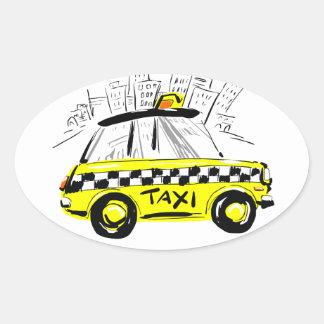 newyorkのタクシー 楕円形シール