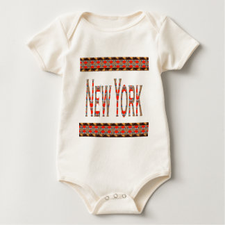 NEWYORKニューヨークNY赤いnの金ゴールドのボーダーLOWPRICES ベビーボディスーツ