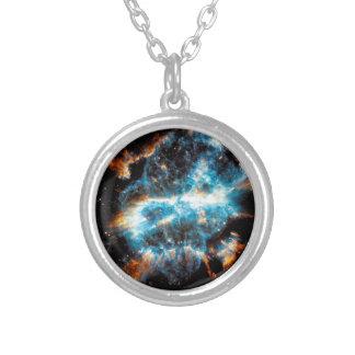 NGC 5189の惑星状星雲 シルバープレートネックレス