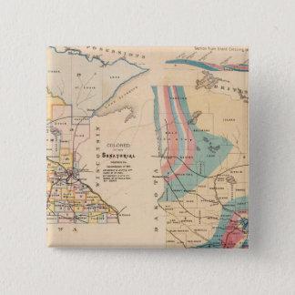 NH Winchellによるミネソタの地質地図 5.1cm 正方形バッジ