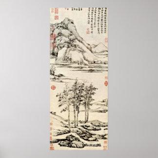 NI Zan - Yuシャン語のリバー・バレーの木 ポスター