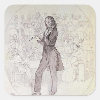 Niccolo Paganini、バイオリン奏者 正方形シール・ステッカー