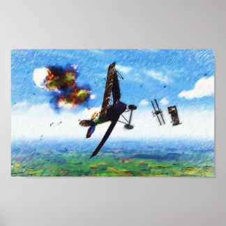 Nieuport 28.C1著フォッカーD.VIIのshotdown ポスター