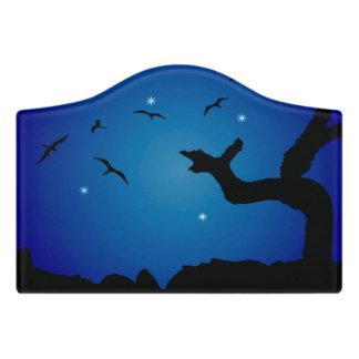 Nightscapeの景色のイラストレーション ドアサイン