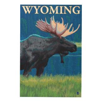 NightWyomingVintage旅行ポスターのアメリカヘラジカ ウッドウォールアート