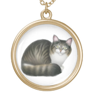 Nikeyフレンドリーな猫のネックレス ゴールドプレートネックレス